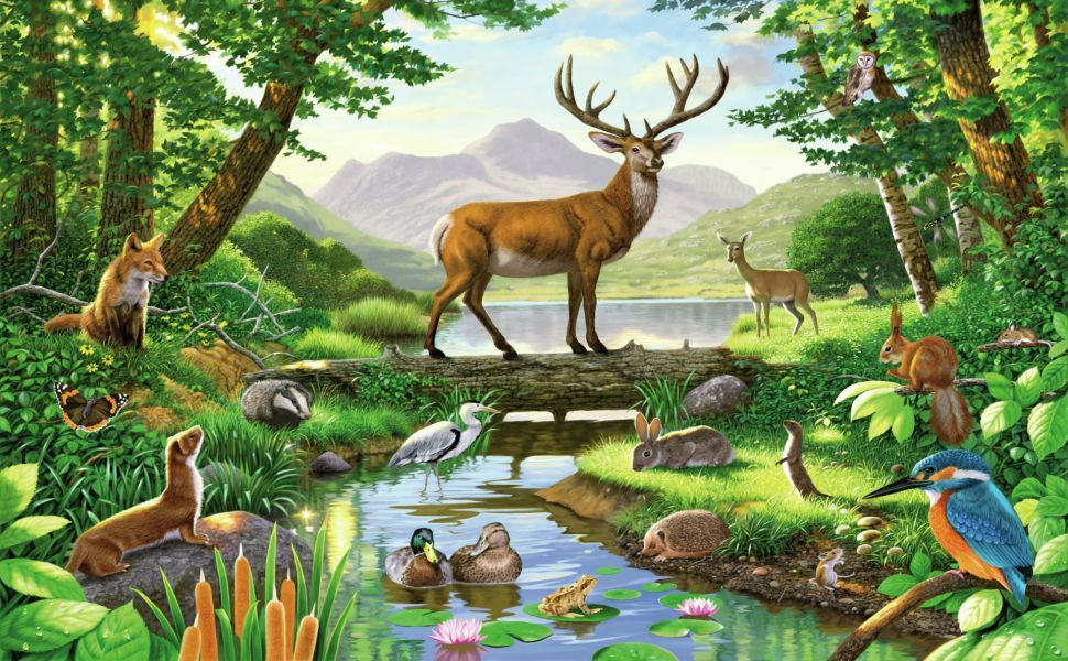 Forest animals HD Wallpaper Deer painting, Animal wall