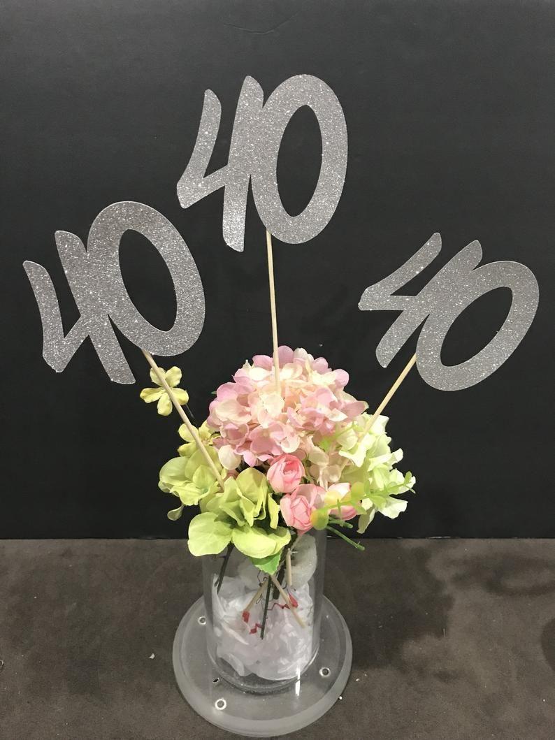 40th Birthday party decorations, 40th Birthday Centerpiece
