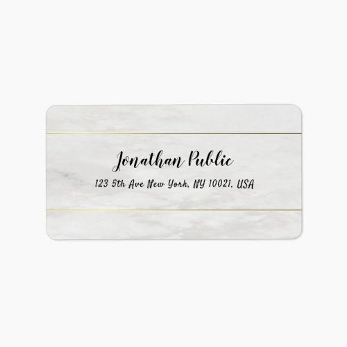 Photo of Stylish Simple White Marble Gold Modern Template Label