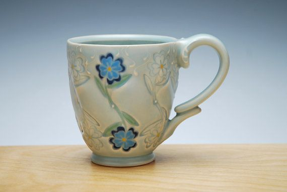 Blue Flowers stamped mug in Frost w. colorized by KiefferCeramics