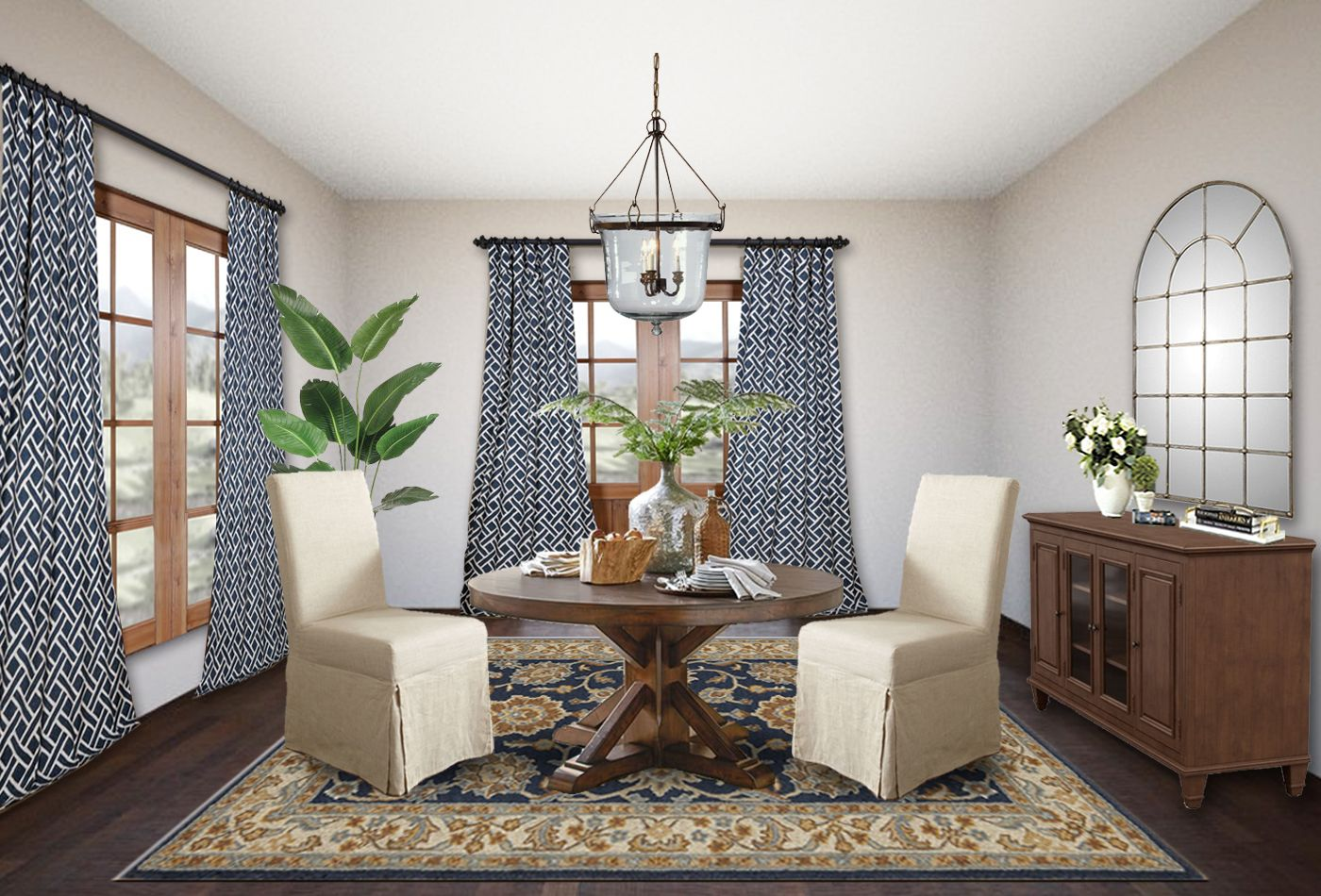 Rustic dining room online interior design with Pottery ...