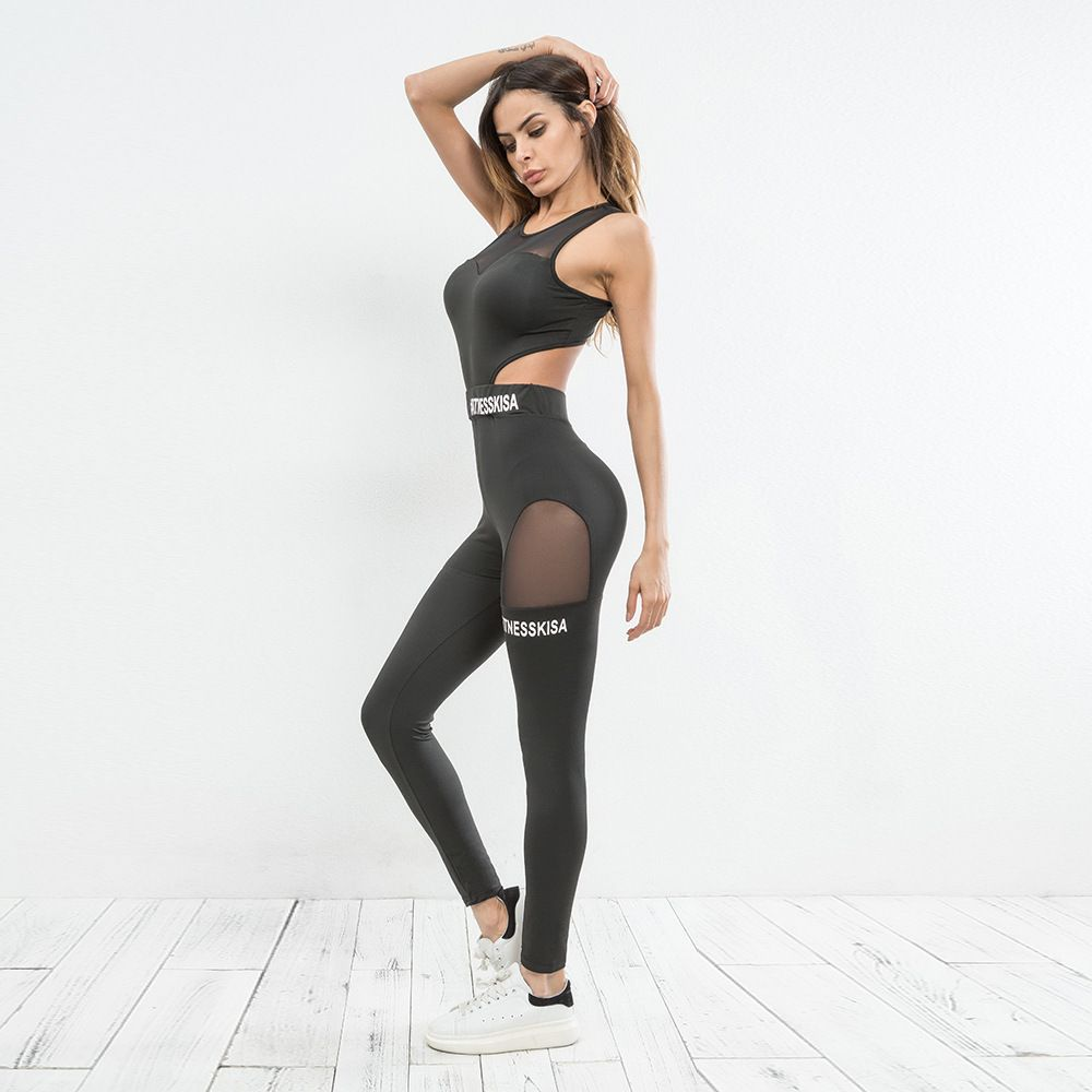 cedbabe7044 Heat Sell Autumn Workout Black High Waist Elastic Fitness Slim Sport  Patchwork Jumpsuits 2018 For Womens Clothing  rompers  jumpsuit  playsuit   bodyauits ...