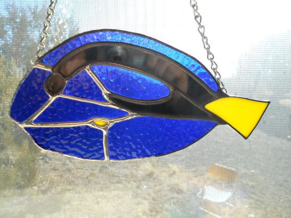 Blue Tang tropical fish stained glass by gregsgiftsofglass on Etsy, $72.75