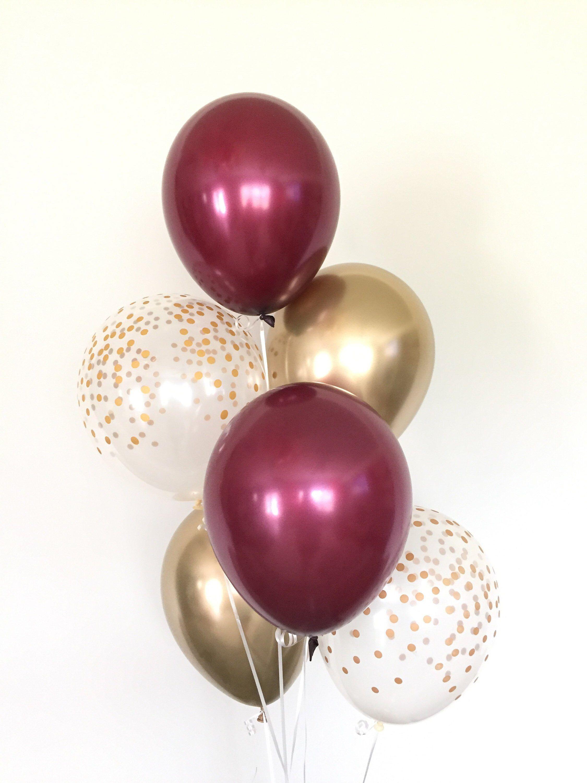 Burgundy And Gold Balloons Burgundy Wedding Decor Burgundy Etsy In 2020 Birthday Balloon Decorations Gold Balloons Birthday Balloons