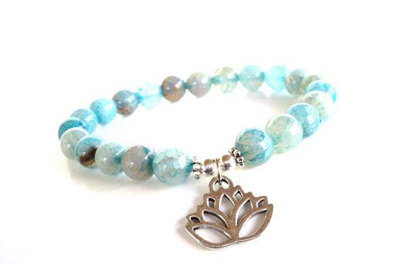 Namaste Mala Bracelet Lotus Yoga Jewelry Spiritual Healing