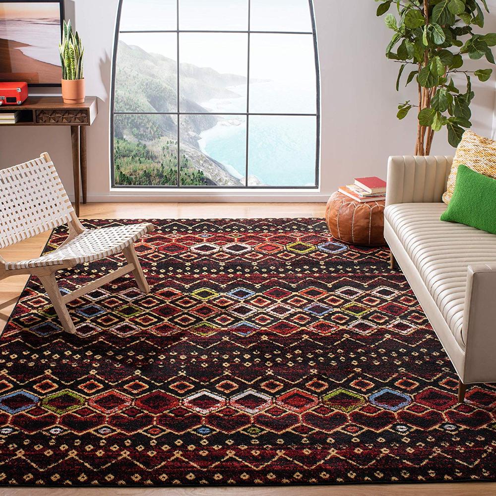 amazon com safavieh amsterdam collection ams108k southwestern bohemian ivory and multi area rug on boho chic kitchen rugs id=94935