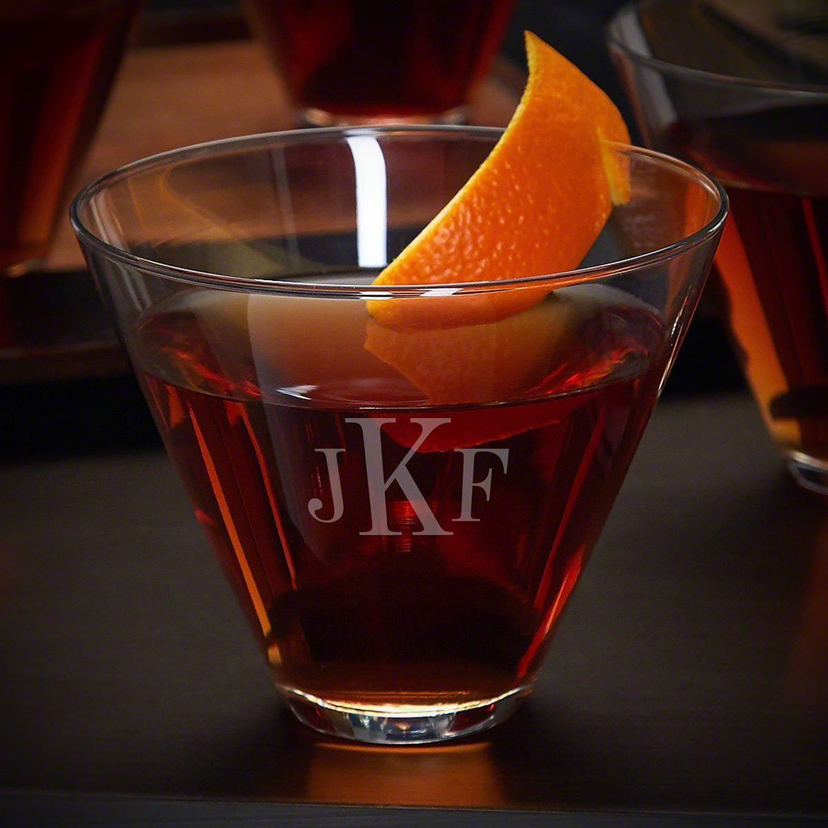 Classic Monogram Engraved Stemless Unique Martini Glass Cocktail Glass Manhattan Glass Martini