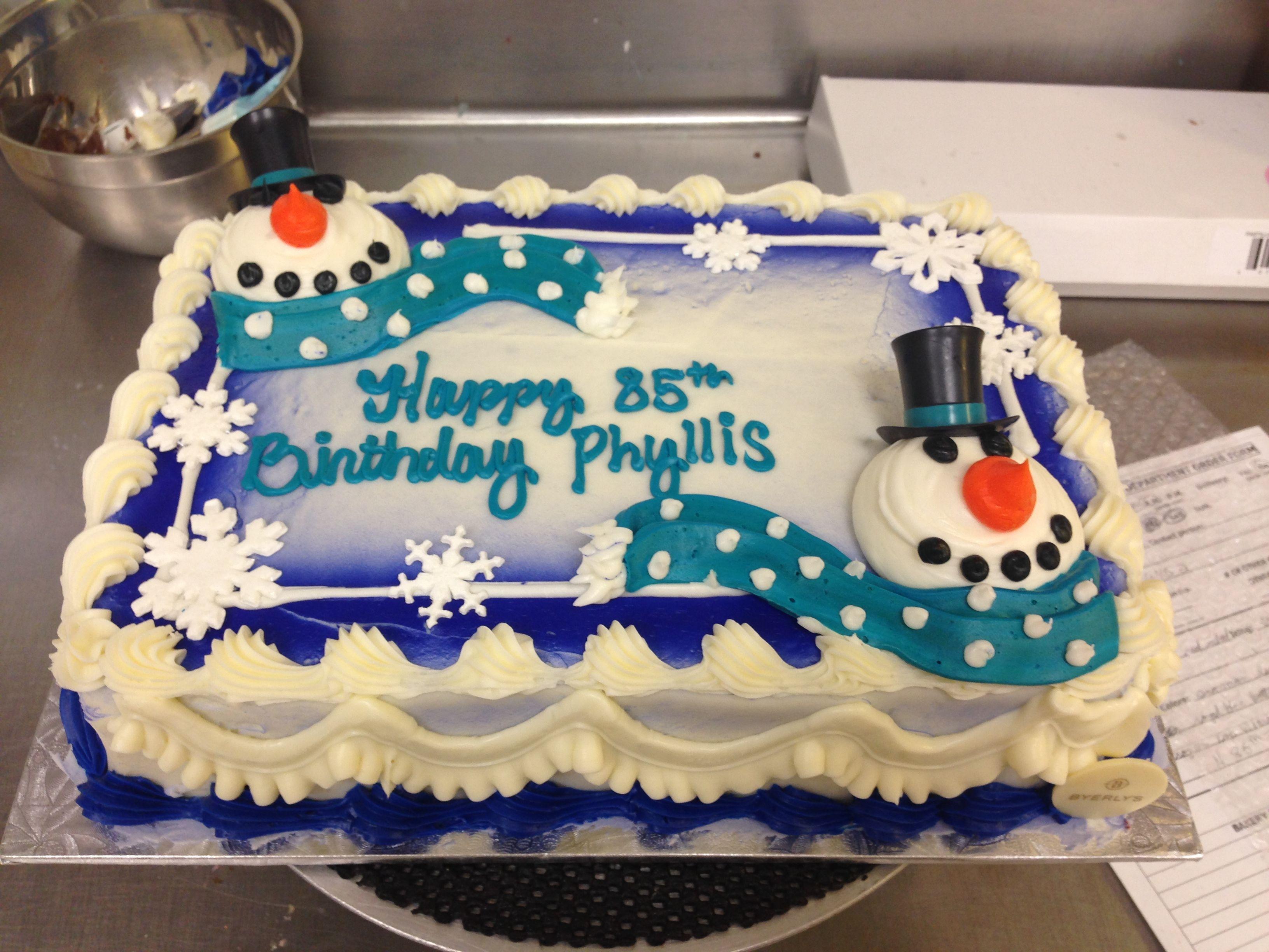 1/4 Sheet Snowmen cake