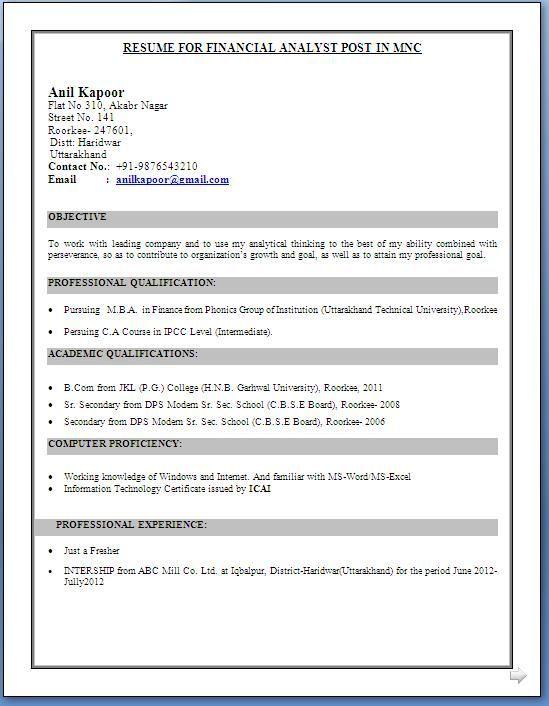 Image result for resume format for fresher ca cv Pinterest - medical billing resume examples