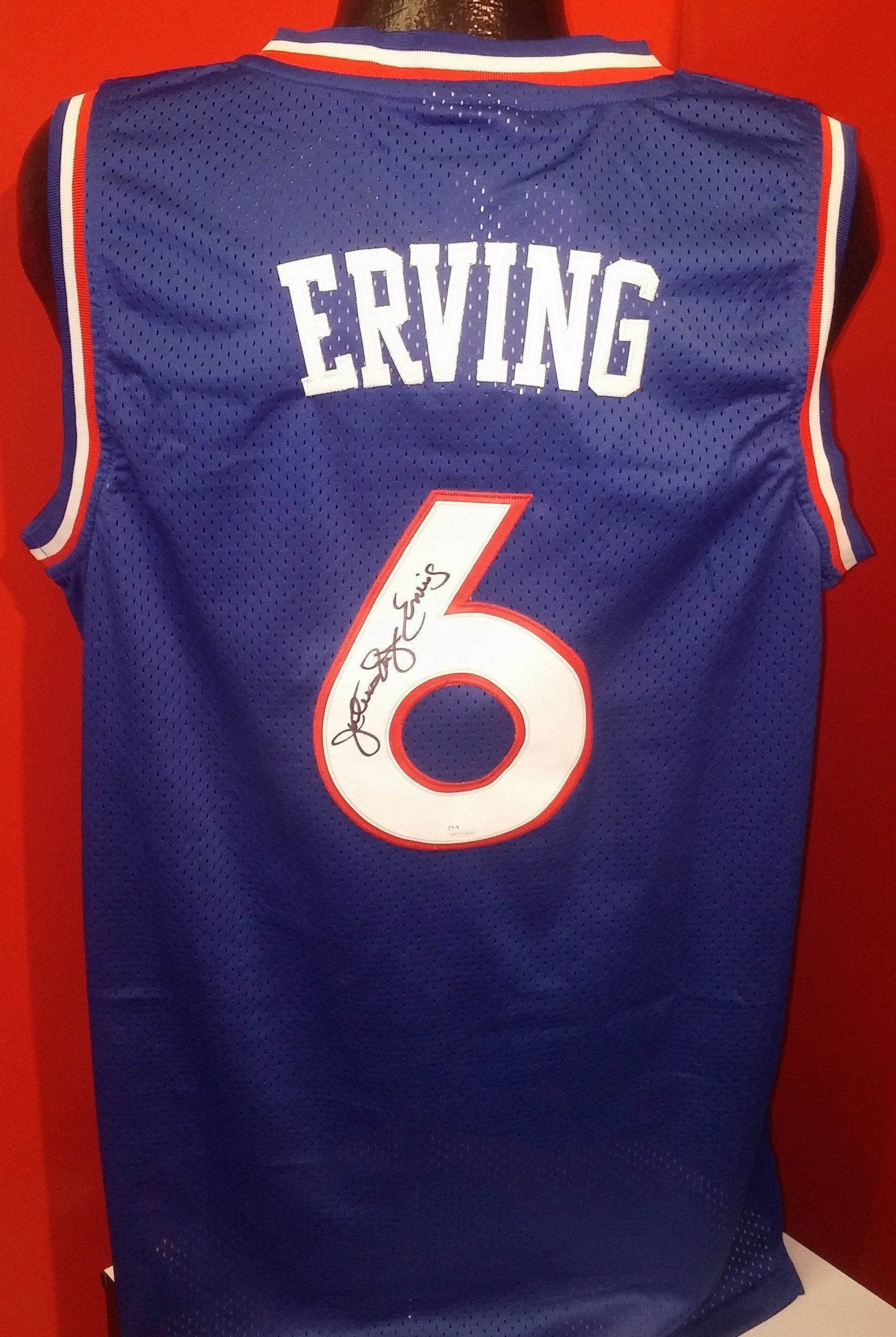 90a758b38ae7 Philadelphia 76ers Julius Erving Autographed NBA Basketball Swingman  Pro-Style Jersey with  Dr.