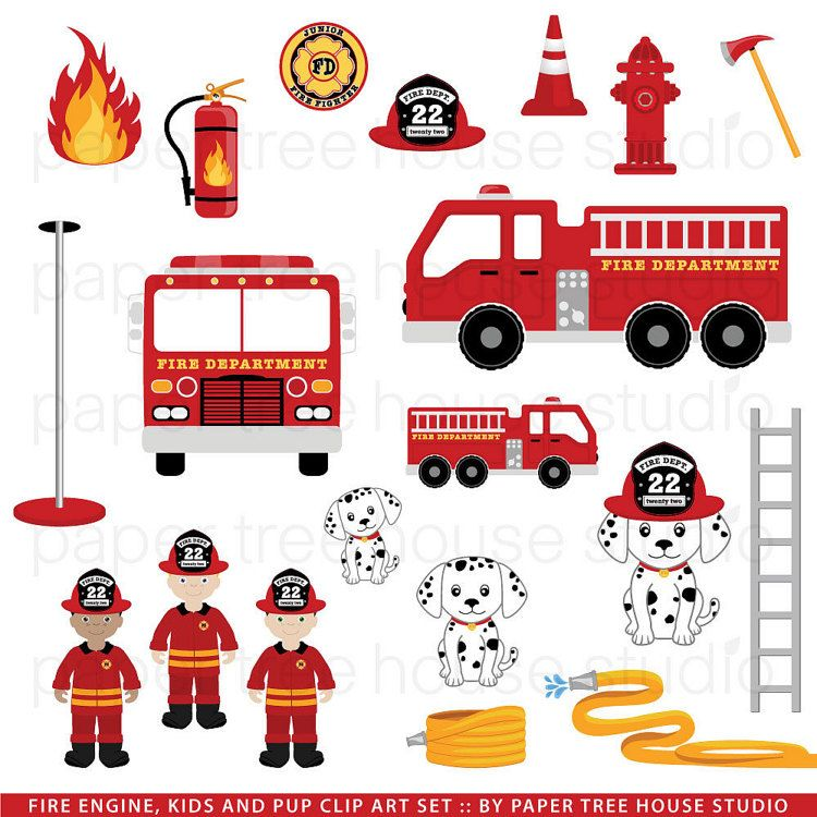 Clip Art Set Fire Station Truck And By Papertreehousestudio With