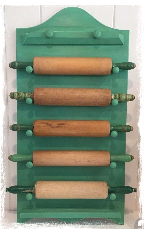 Repurposed Rolling Pin Rack Rolling Pin Display Rolling Pin Holder Rolling Pin Crafts