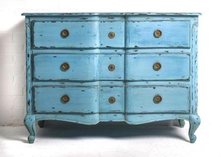 Vintage Kommode Romantik Blau 3 Schub Home Beauties