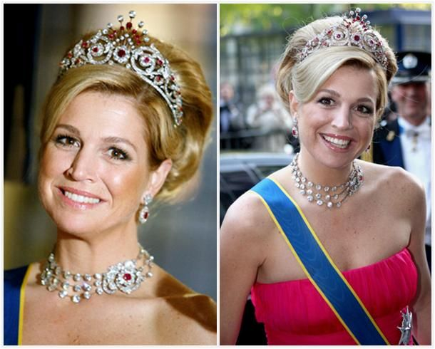 Princess Máxima surprised everyone by popping up in the Ruby Peacock Tiara in May of 2009