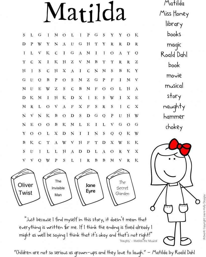 Matilda Printable Roald Dahl Printable Fun For Kids Pinterest
