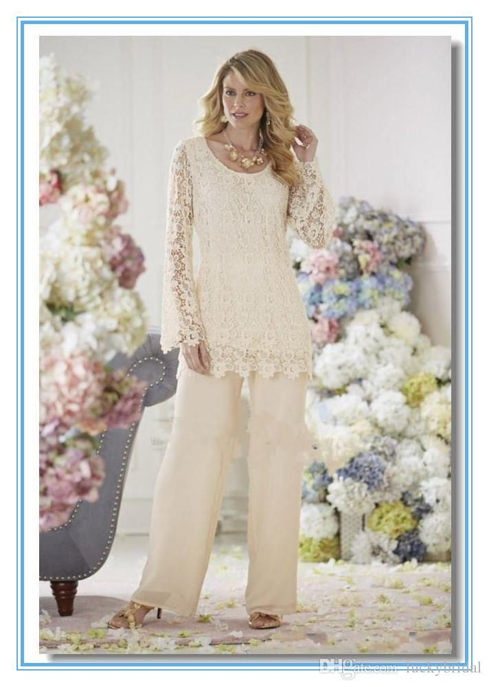 Elegant Ivory Lace Chiffon Two Pieces Mother Pant Suits Sheer Long ...