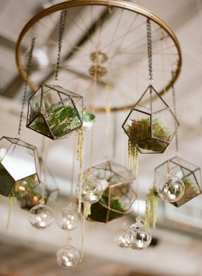 87 photos et tutos diy faciles pour d couvrir le charme du terrarium suspendu terrarium - Boule verre suspendu ...