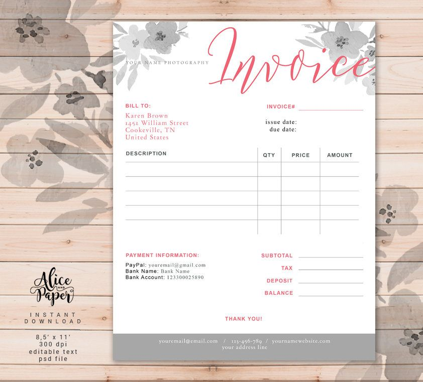 Invoice Template Photography Invoice Receipt Template For Photographers Business Invoice Photography Forms Photoshop Template Psd File In 2021 Photography Invoice Invoice Template Receipt Template