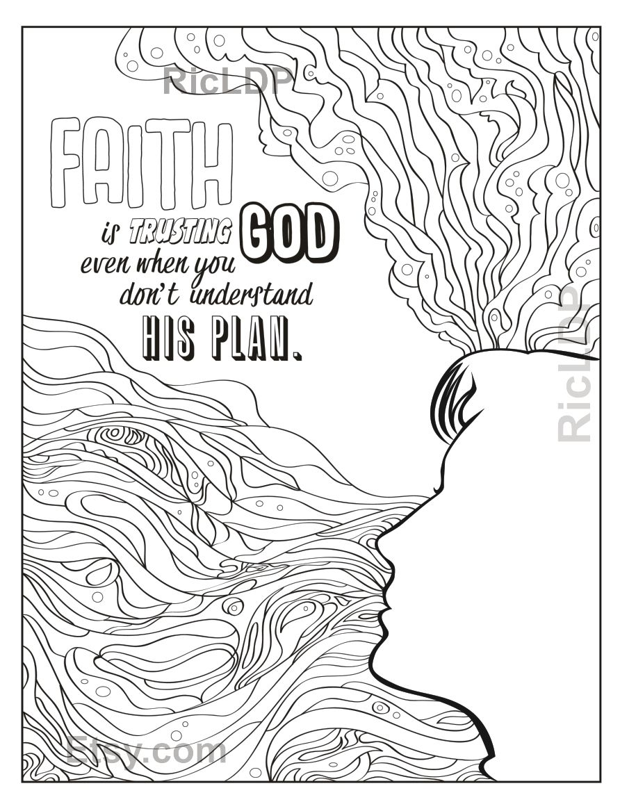 Two Page Christian Doodles Coloring Pages On Faith Trust