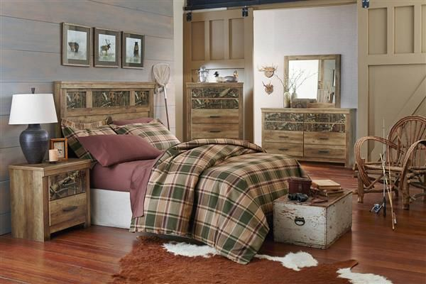Habitat Mossy Oak Wood 5pc Bedroom Set W Full Queen Panel Headboard