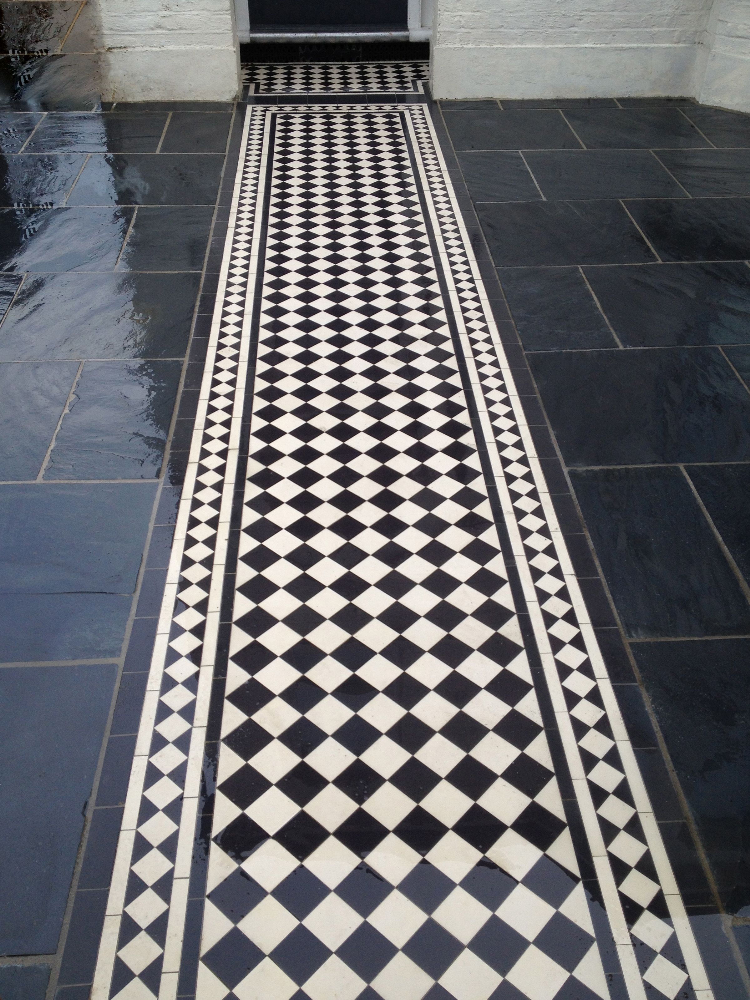 London Mosaic Our Classic Design In 50mm 70mm 100mm Tiles Victorian Pathway Monochrome Ceramic Tiles An In 2020 Floor Tile Design Ceramic Tiles Mosaic Flooring