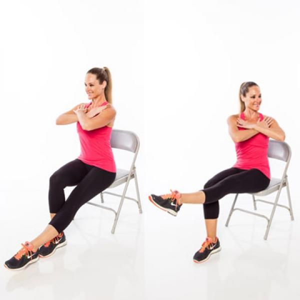 Leg lift and twist chair exercise seated full body
