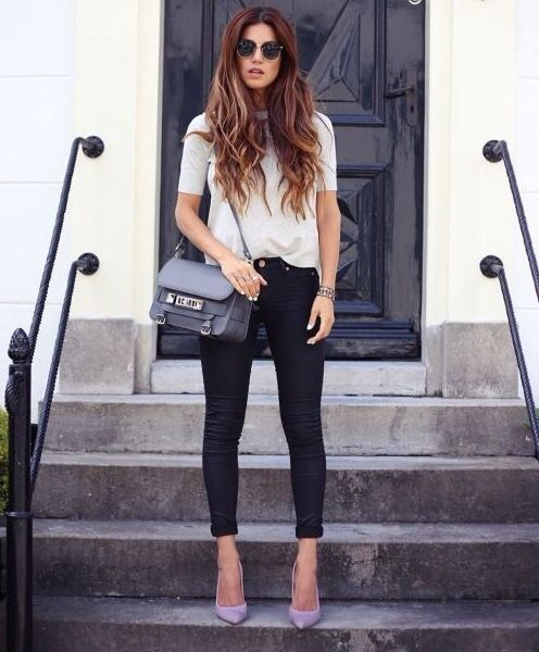 Lilac heels   Casual shoes outfit