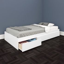 Nexera Blvd White Twin Platform Bed With Storage 223903 Single