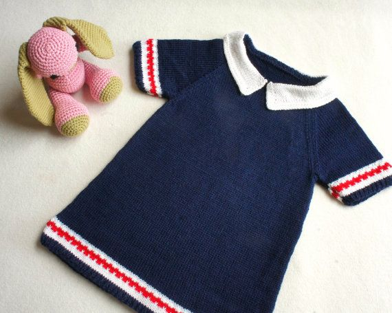 9241f49c8362 Knitted baby dress in navy blue and a white collar
