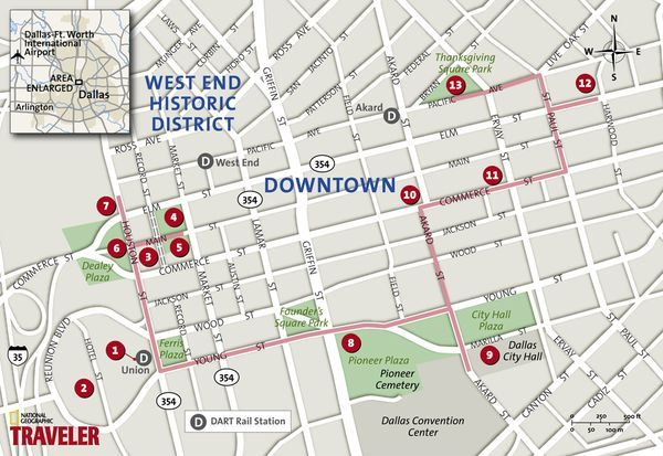 map of dallas downtown Dallas Walking Tour Heart Of Downtown National Geographic S map of dallas downtown
