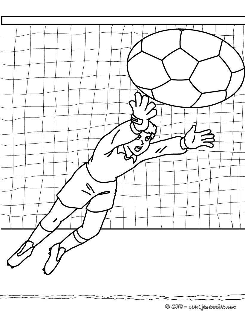 Coloriage du gardien de but dans un match de foot un joli - Dessin gardien de but ...