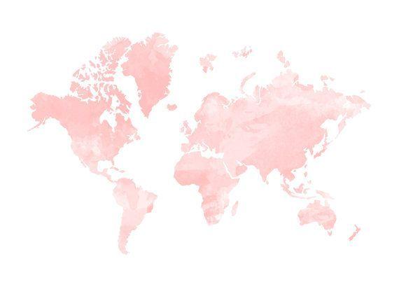 Blush Watercolour World Map Print Home By Hopelessromantics14