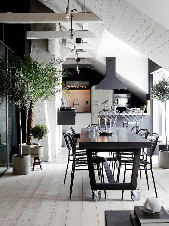 kueche dachschraege schwarz weiss moderner essbereich Küche - küche schwarz weiß