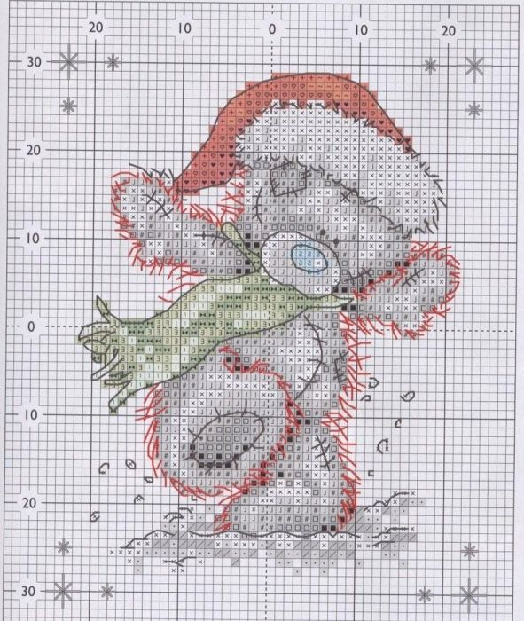 X Me To You Tatty Teddy Bear Ice Skating Christmas Cross Stitch Chart