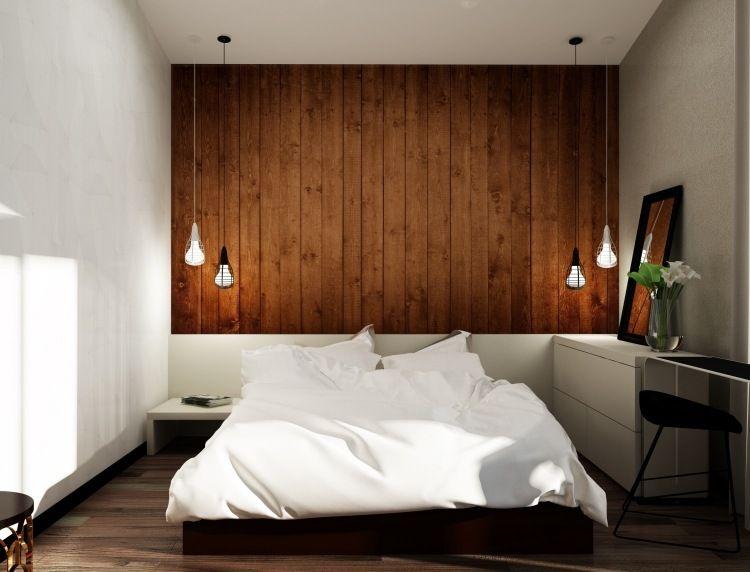 Holz Wandverkleidung Im Schlafzimmer   Weißes Bett Mit Integrierten  Nachttischen