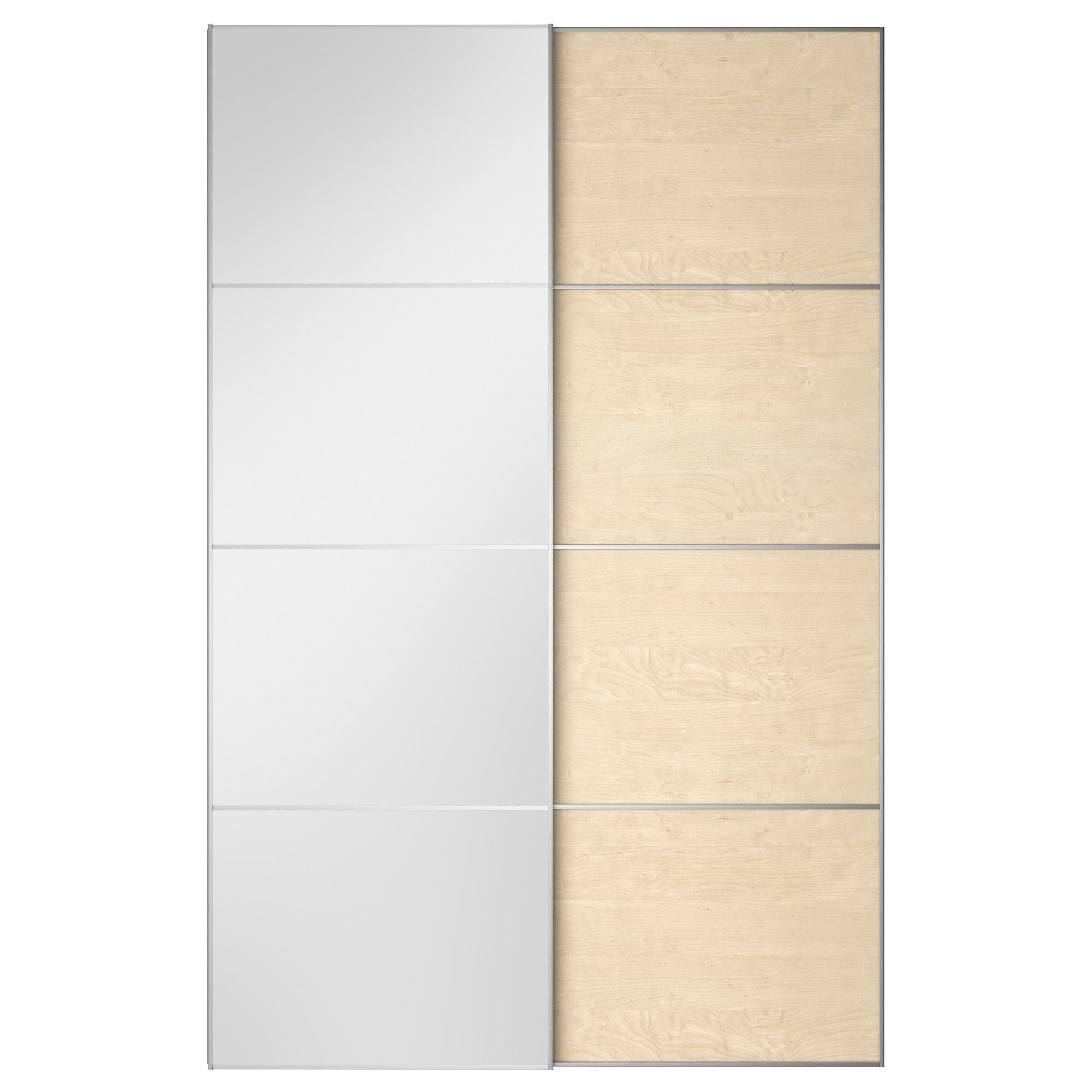 IKEA AULI/ILSENG Pair Of Sliding Doors Mirror Glass/white Stained Oak  Veneer Cm 10 Year Guarantee.