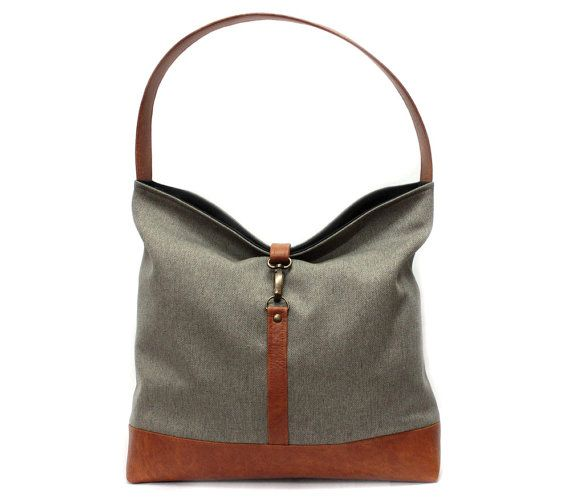 0c77e8a53c87 Brown hobo shoulder bag made from light brown polyester upholstery fabric  with caramel vegan leather bottom. This handbag makes a perfect day bag. It