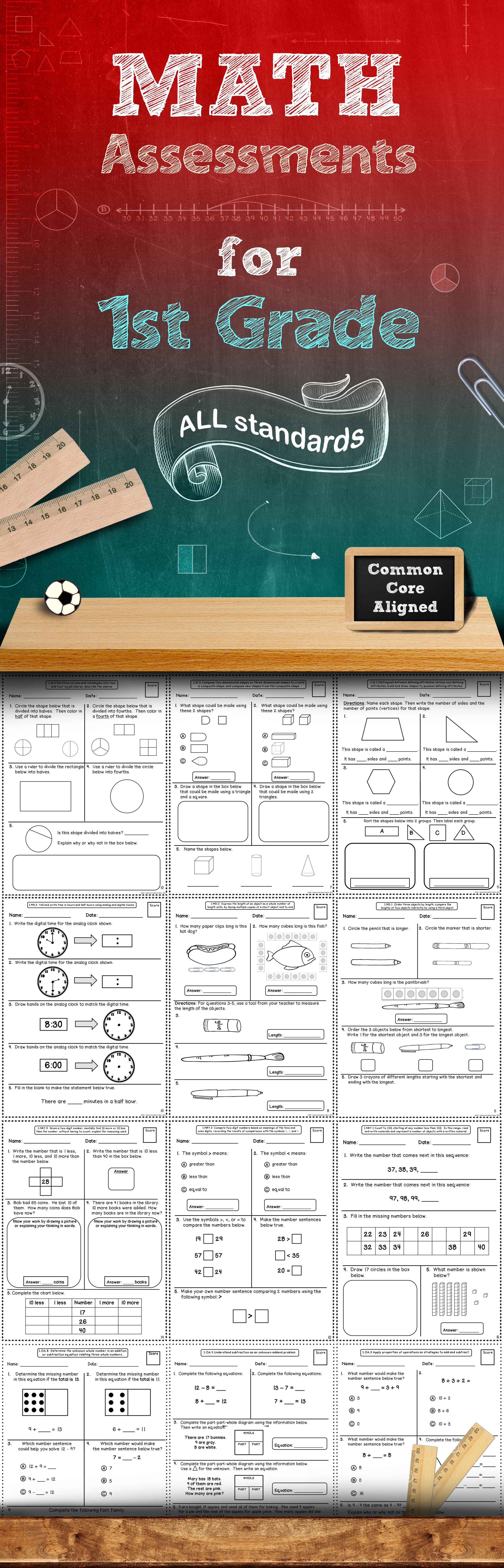 Common Core Math Assessments - 1st Grade Elementary