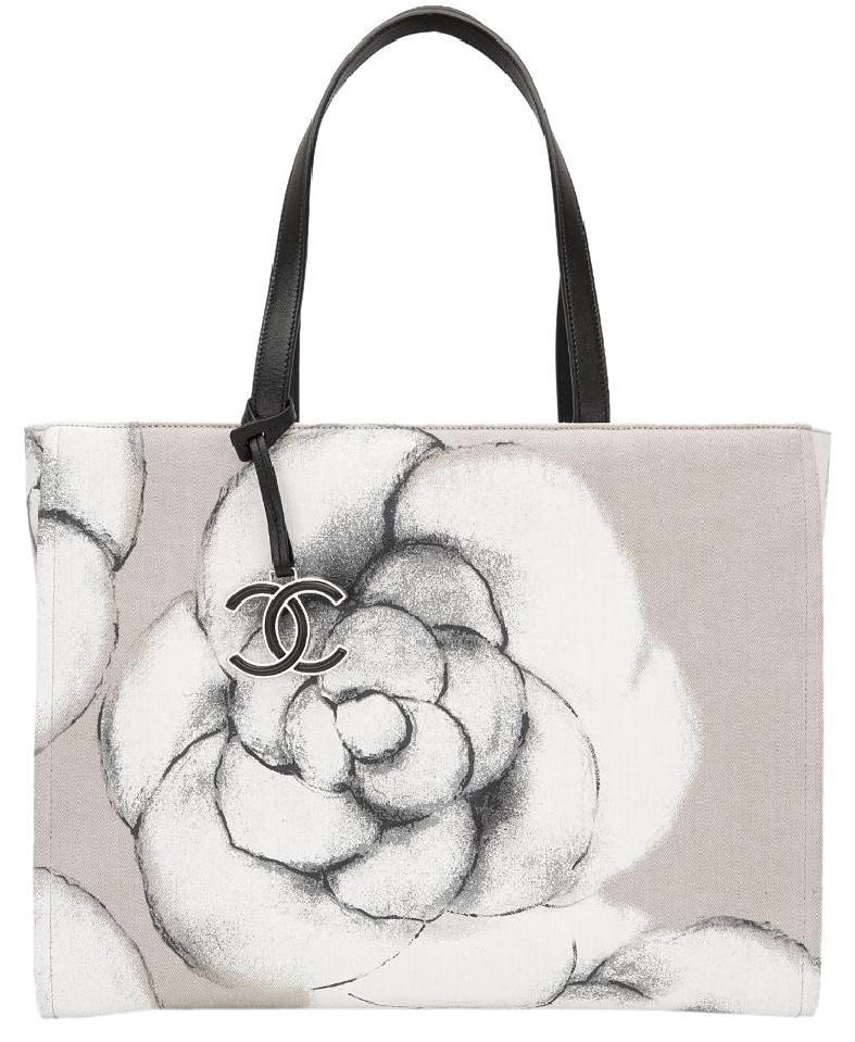 Chanel  Canvas And Leather Camellia Large Shopping  Tote  Bag ... 25d6d606b988e