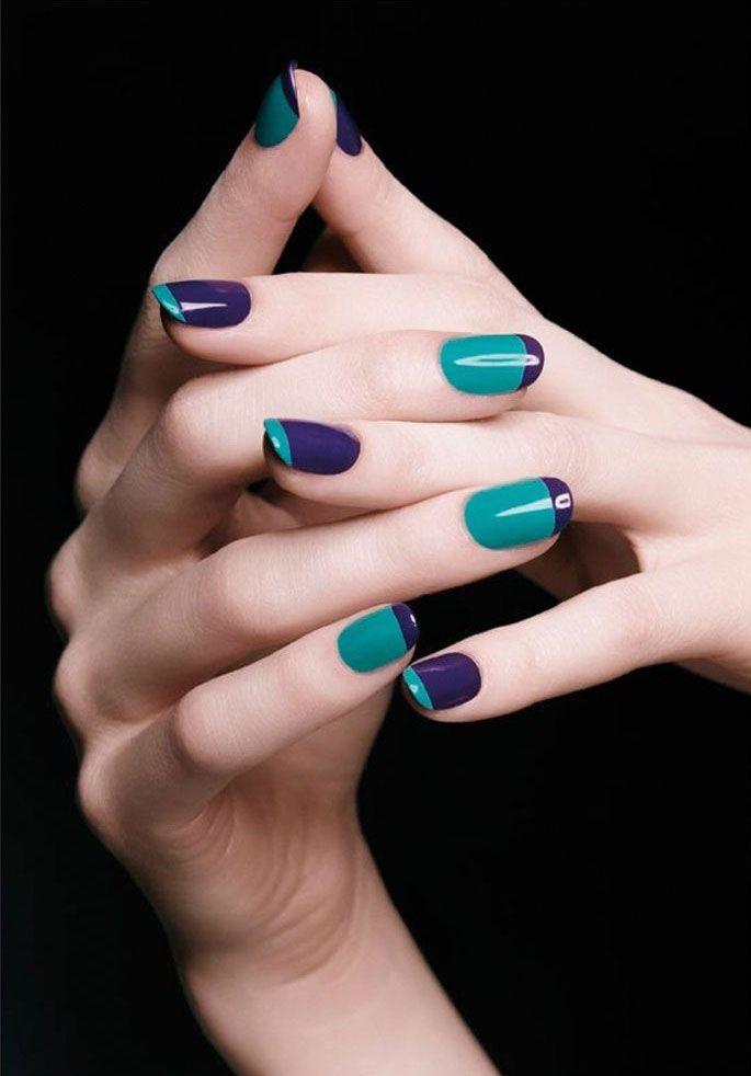 uñas decoradas purpura y verde   Uñas favoritas   Pinterest   Uña ...
