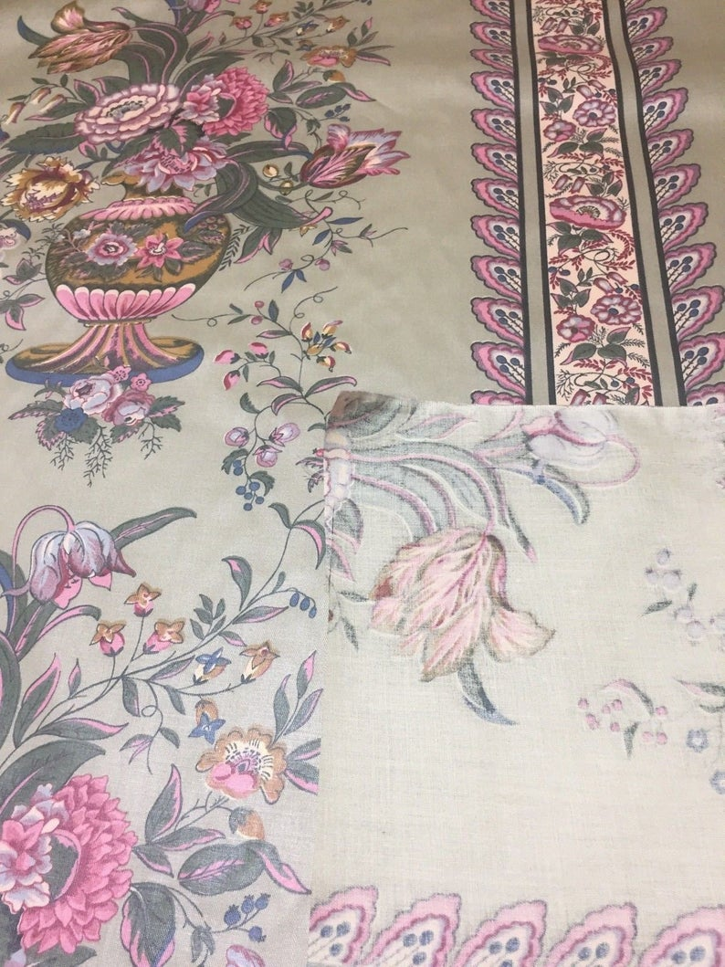 MCM Cotton Chintz Fabric Floral Pink & Green Wallpaper