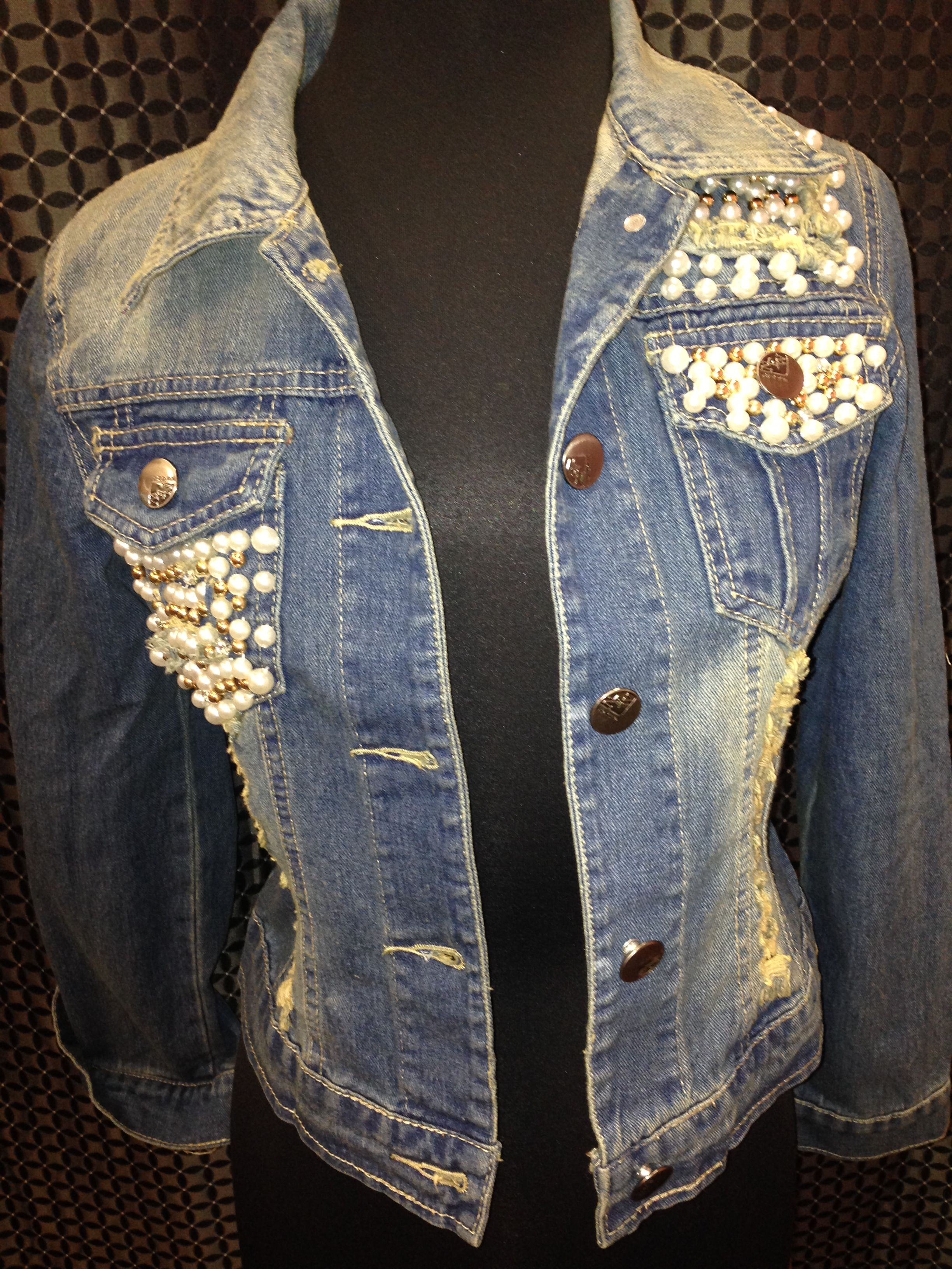 Maximize Your Beauty With Beautiful Pearl Jewelry Denim And Lace Embellished Denim Embellished Denim Jacket [ 3264 x 2448 Pixel ]