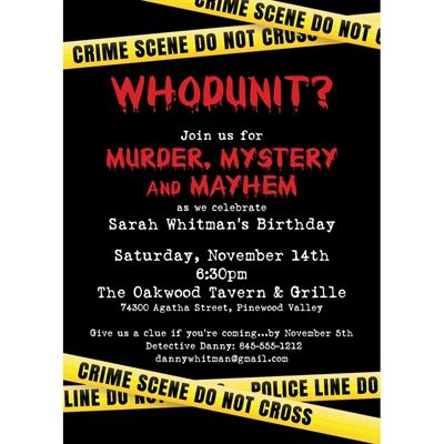 crime scene theme party invitation murder mystery party ideas
