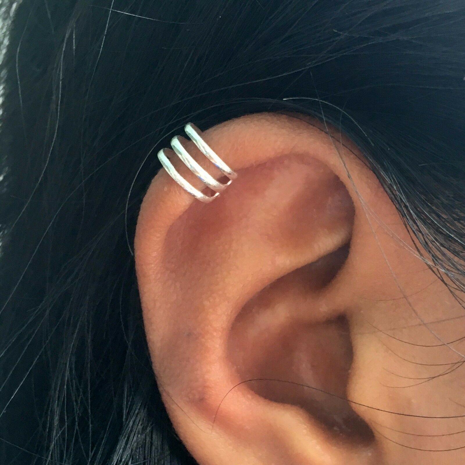 Ear Wrap 925 Sterling silver Pearl CZ No Piercing Ear Cuff earrings Minimalist earrings Gift double wire ear cuff statement earrings