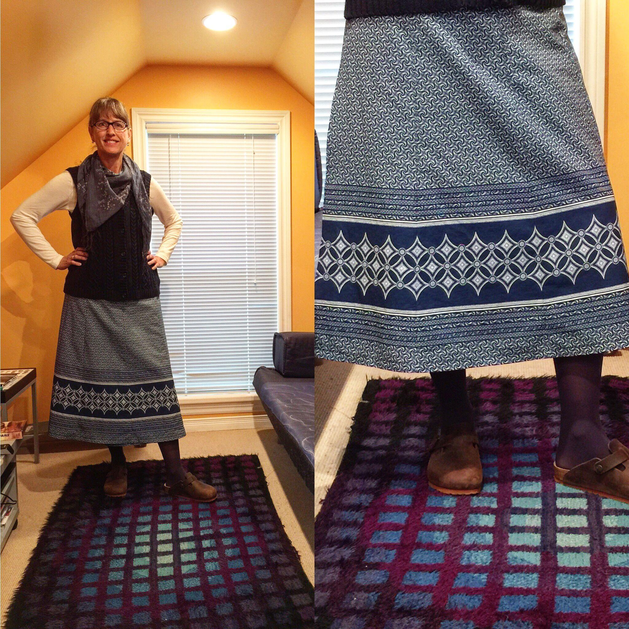 Shweshwe wraparound skirt made of preprinted panels