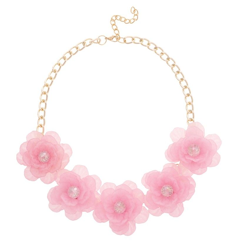 PINK FLOWERS STATEMENT NECKLACE Reference:  A02161014