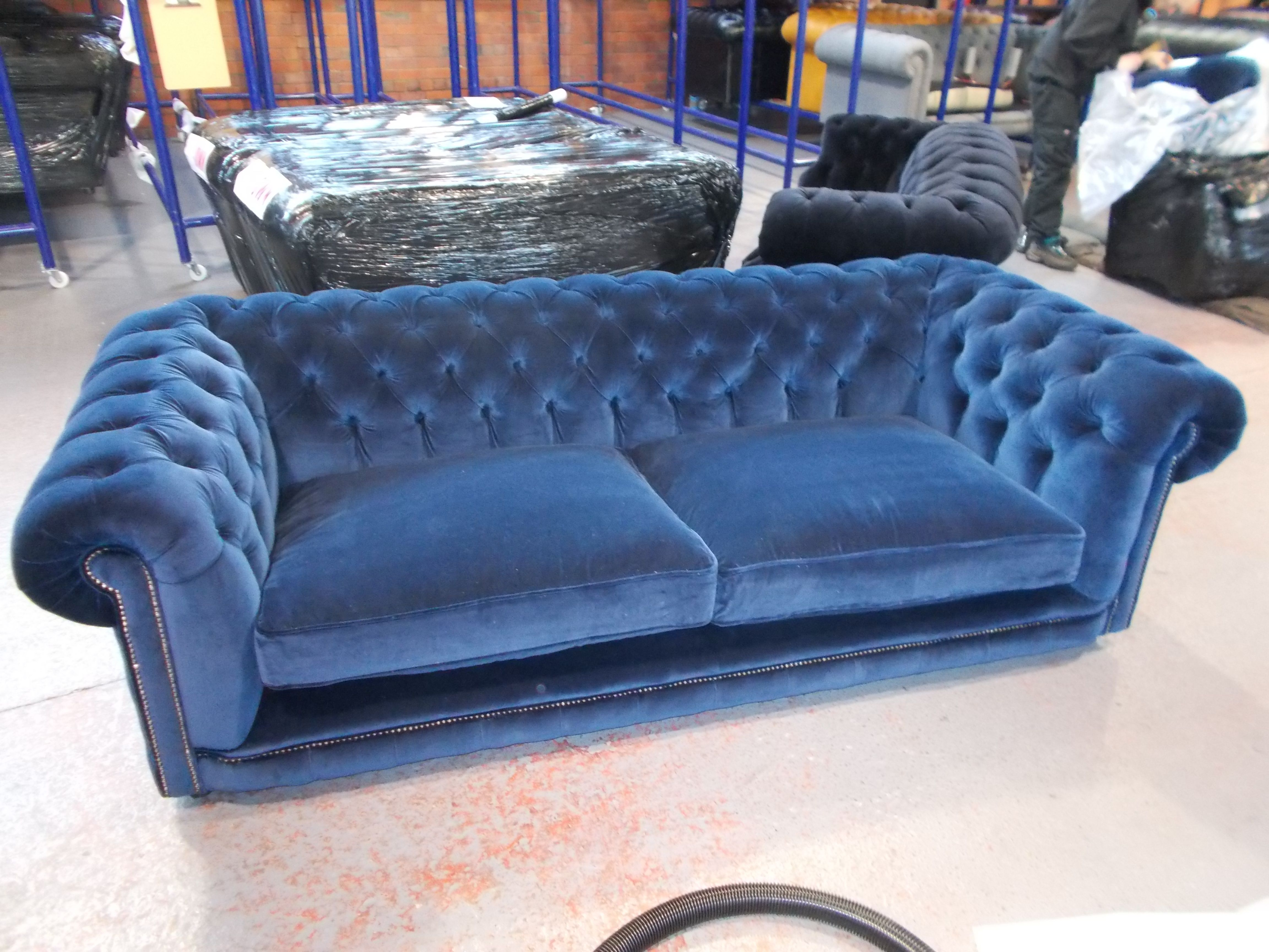 Hampton 3 Seater Chesterfield Sofa In Blue Velvet With 2 Large Cushions Leather Living Room Furniture Velvet Sofa Living Room Tufted Leather Sofa