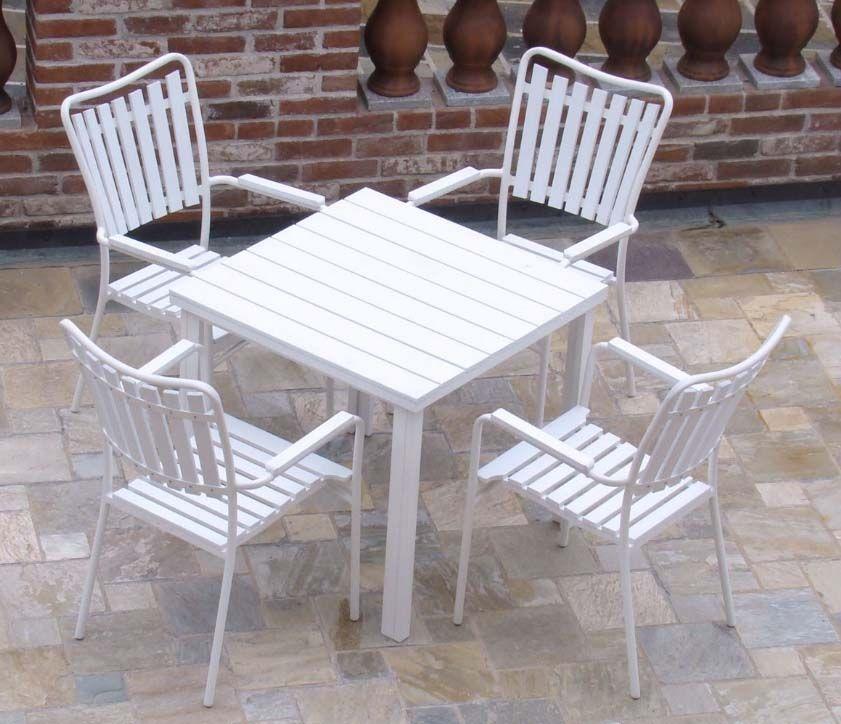 Set 4 Sedie Da Giardino In Ferro Bianco Con Braccioli Dimensioni 54lx55px90h Cm Tavolo Esterno Tavolo E Sedie Da Giardino Sedie