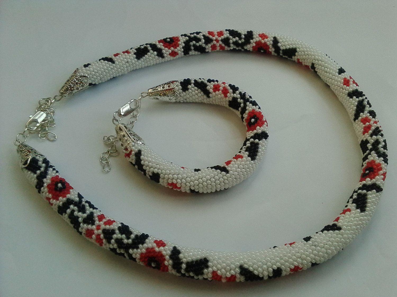 Embroidery Ukrainian Poltavska handmade jewelry (pattern crochet ...