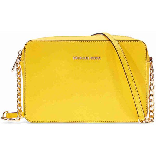 6bcb53ab66a7c6 Michael Kors Jet Set Large Saffiano Leather Crossbody - Sunflower ($99) ❤  liked on Polyvore featuring bags, handbags, shoulder bags, crossbody purse,  ...